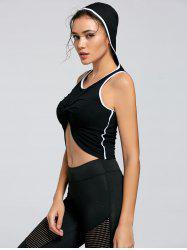 Active Contrast Front Knot Hooded Crop Top -