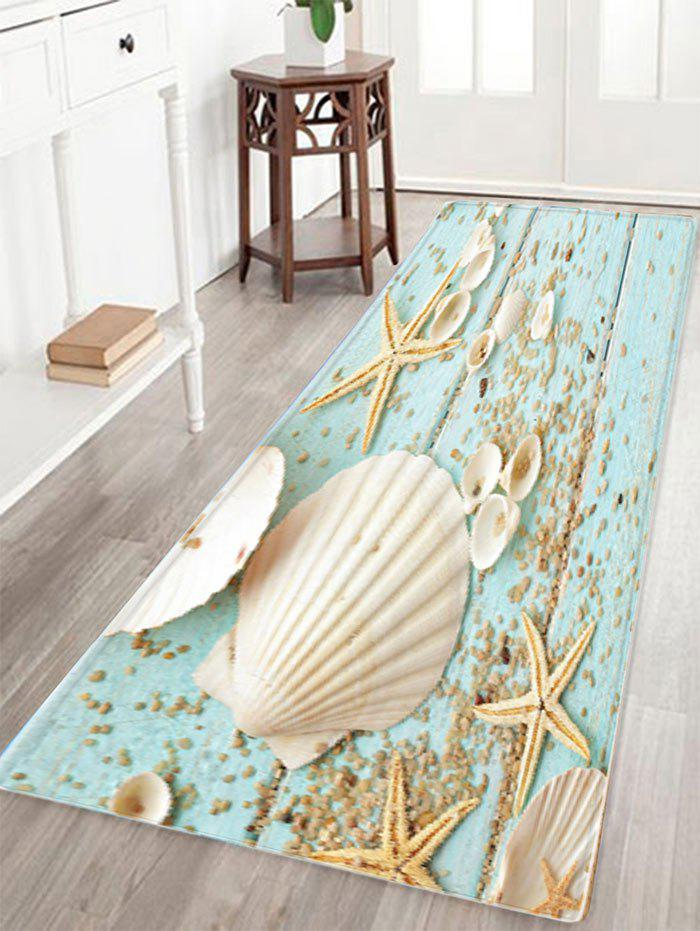 Shell Starfish Deck Pattern Anti-skid Water Absorption Area RugHOME<br><br>Size: W24 INCH * L71 INCH; Color: COLORMIX; Products Type: Bath rugs; Materials: Flannel,Sponge; Style: Beach Style; Shape: Rectangle; Package Contents: 1 x Rug;
