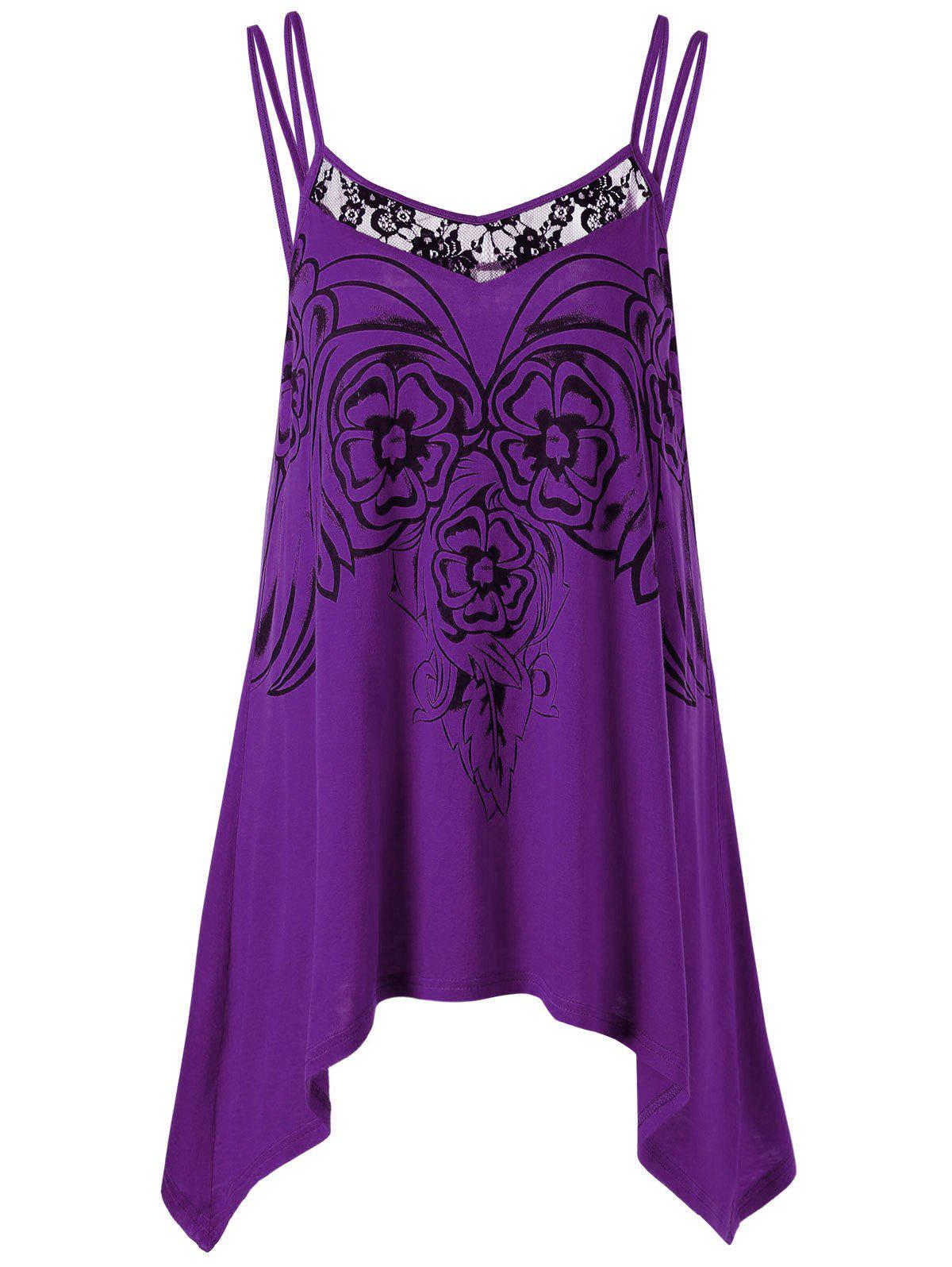 Asymmetric Plus Size Cami Tunic TopWOMEN<br><br>Size: 2XL; Color: PURPLE; Material: Rayon; Shirt Length: Long; Sleeve Length: Sleeveless; Collar: Spaghetti Strap; Style: Casual; Season: Summer; Embellishment: Lace; Pattern Type: Floral; Weight: 0.2040kg; Package Contents: 1 x Top;