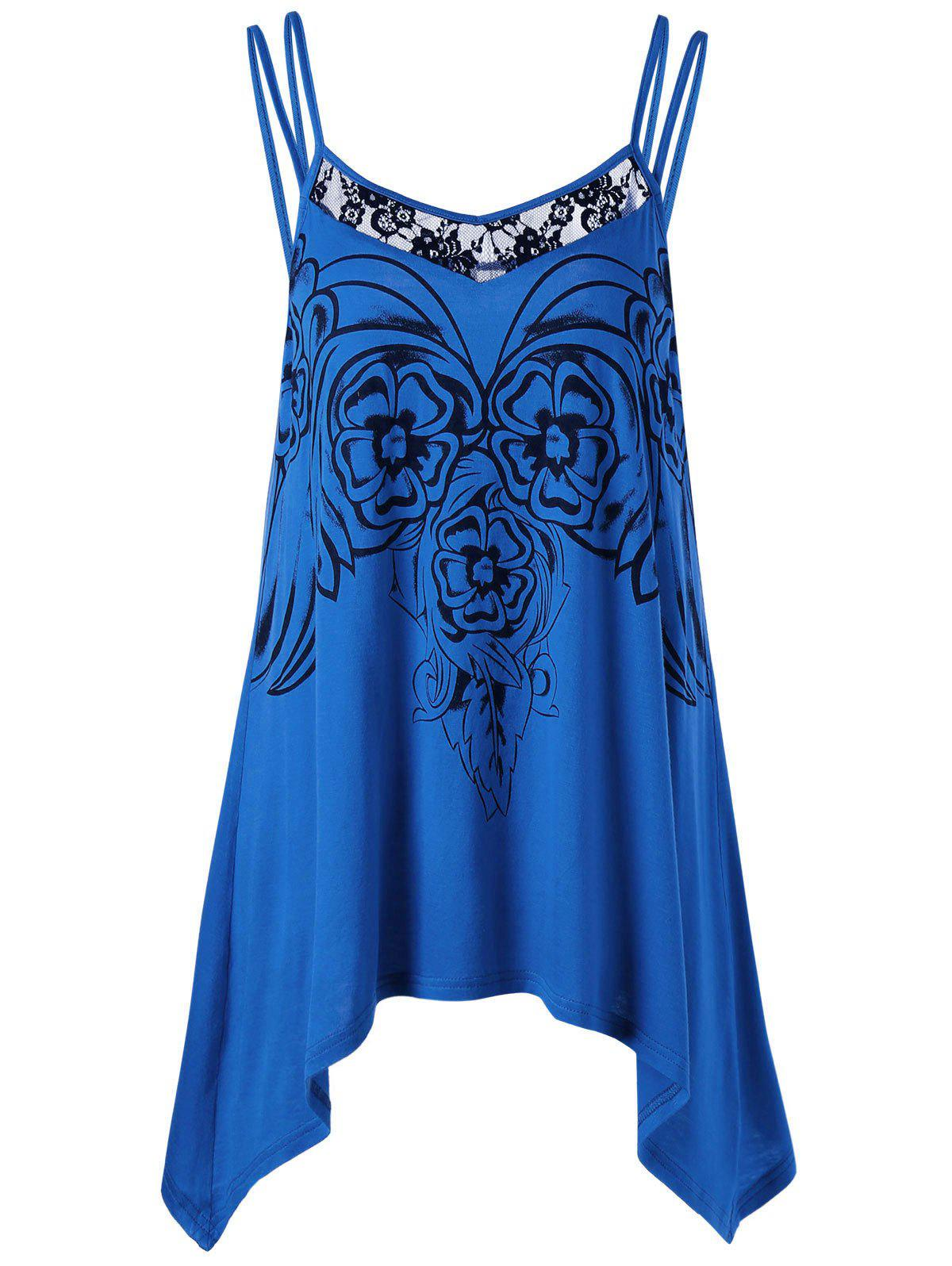 Asymmetric Plus Size Cami Tunic TopWOMEN<br><br>Size: XL; Color: ROYAL; Material: Rayon; Shirt Length: Long; Sleeve Length: Sleeveless; Collar: Spaghetti Strap; Style: Casual; Season: Summer; Embellishment: Lace; Pattern Type: Floral; Weight: 0.2040kg; Package Contents: 1 x Top;