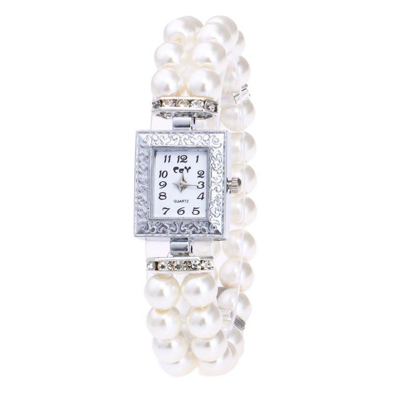 Rectangle Number Faux Pearl Bracelet WatchJEWELRY<br><br>Color: WHITE; Gender: For Women; Style: Fashion; Type: Quartz watch; Index Dial: Analog; Case material: Alloy; Band material: Acrylic; Movement: Quartz; Dial Shape: Rectangle; Water-Proof: No; Case Thickness(MM): 10mm; Dial Diameter: 2.5cm; Band Length(CM): 22cm; Package Contents: 1 x Watch;