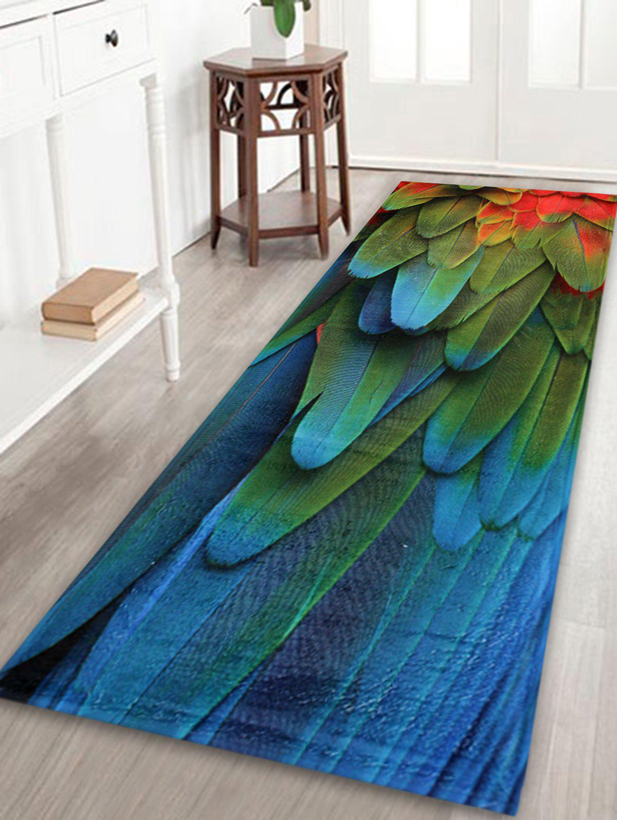 Feather Pattern Extra Large Home Floor RugHOME<br><br>Size: W24 INCH * L71 INCH; Color: COLORMIX; Products Type: Bath rugs; Materials: Coral FLeece; Pattern: Feather; Style: Trendy; Shape: Rectangle; Package Contents: 1 x Rug;