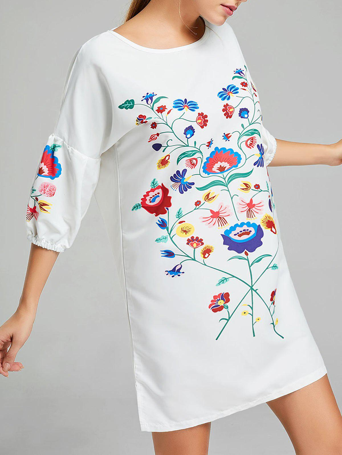 Shop Shift Floral Print Puff Sleeve Dress