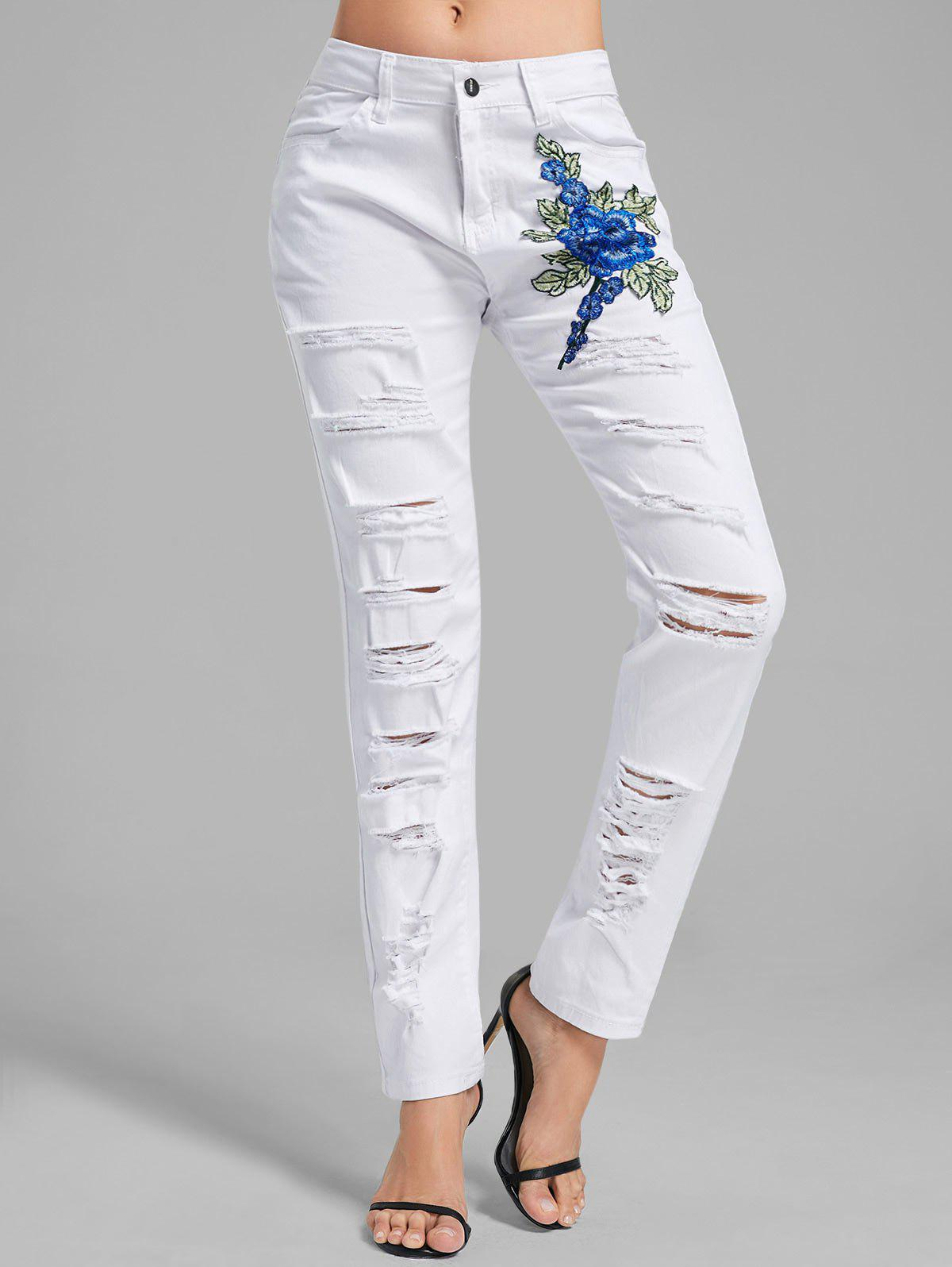 Best Floral Embroidered Applique Ripped Denim Pants