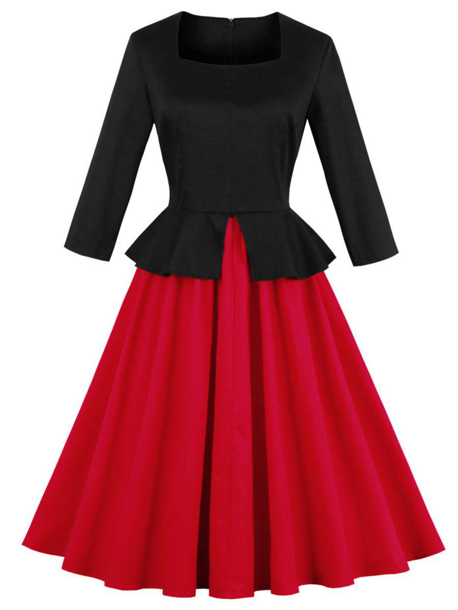 Two Tone A Line Vinatge Plus Size DressWOMEN<br><br>Size: 4XL; Color: RED; Style: Vintage; Material: Polyester; Silhouette: A-Line; Dresses Length: Mid-Calf; Neckline: Square Collar; Sleeve Length: 3/4 Length Sleeves; Pattern Type: Others; With Belt: No; Season: Fall,Summer; Weight: 0.5000kg; Package Contents: 1 x Dress;