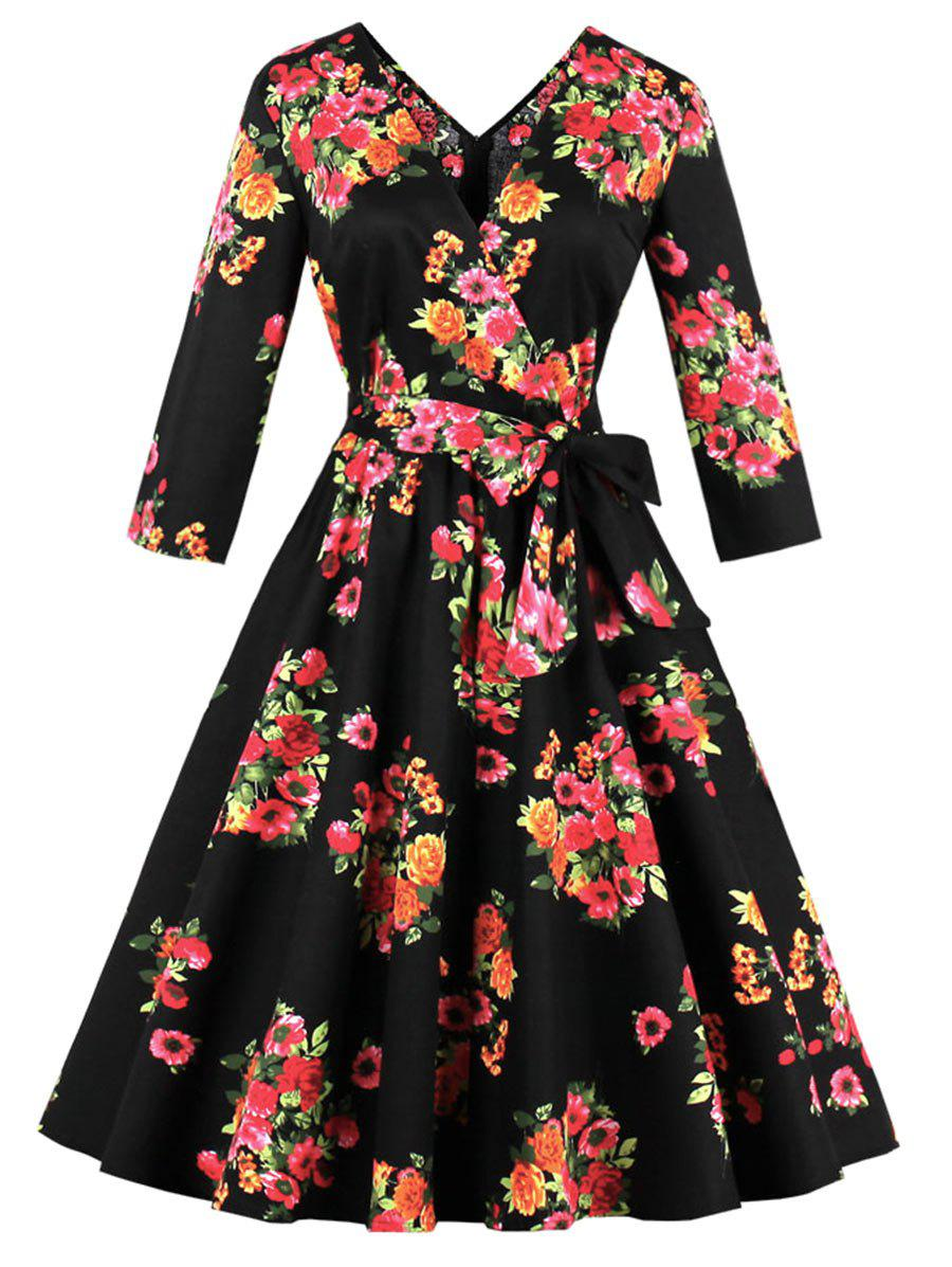 Plus Size Floral A Line Midi DressWOMEN<br><br>Size: 3XL; Color: BLACK; Style: Vintage; Material: Polyester; Silhouette: A-Line; Dresses Length: Mid-Calf; Neckline: V-Neck; Sleeve Length: 3/4 Length Sleeves; Pattern Type: Floral; With Belt: Yes; Season: Fall,Summer; Weight: 0.4500kg; Package Contents: 1 x Dress  1 x Belt;