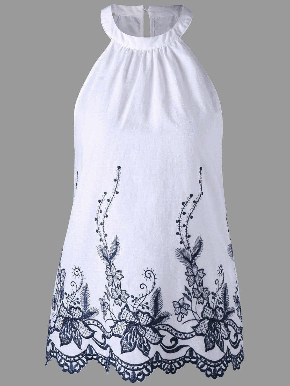 Sleeveless Embroidery Scalloped Edge BlouseWOMEN<br><br>Size: L; Color: WHITE; Occasion: Casual ,Party; Style: Casual; Material: Rayon; Shirt Length: Regular; Sleeve Length: Sleeveless; Collar: Round Neck; Pattern Type: Flower; Season: Summer; Weight: 0.1360kg; Package Contents: 1 x Blouse;