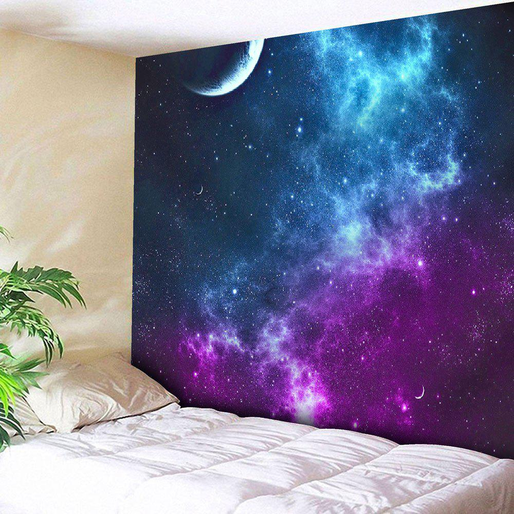 Night Sky Printed Tapestry Microfiber Wall HangingHOME<br><br>Size: W71 INCH * L71 INCH; Color: BLUE; Style: Romantic; Material: Nylon,Polyester; Feature: Removable,Washable; Shape/Pattern: Moon,Print; Weight: 0.2950kg; Package Contents: 1 x Tapestry;