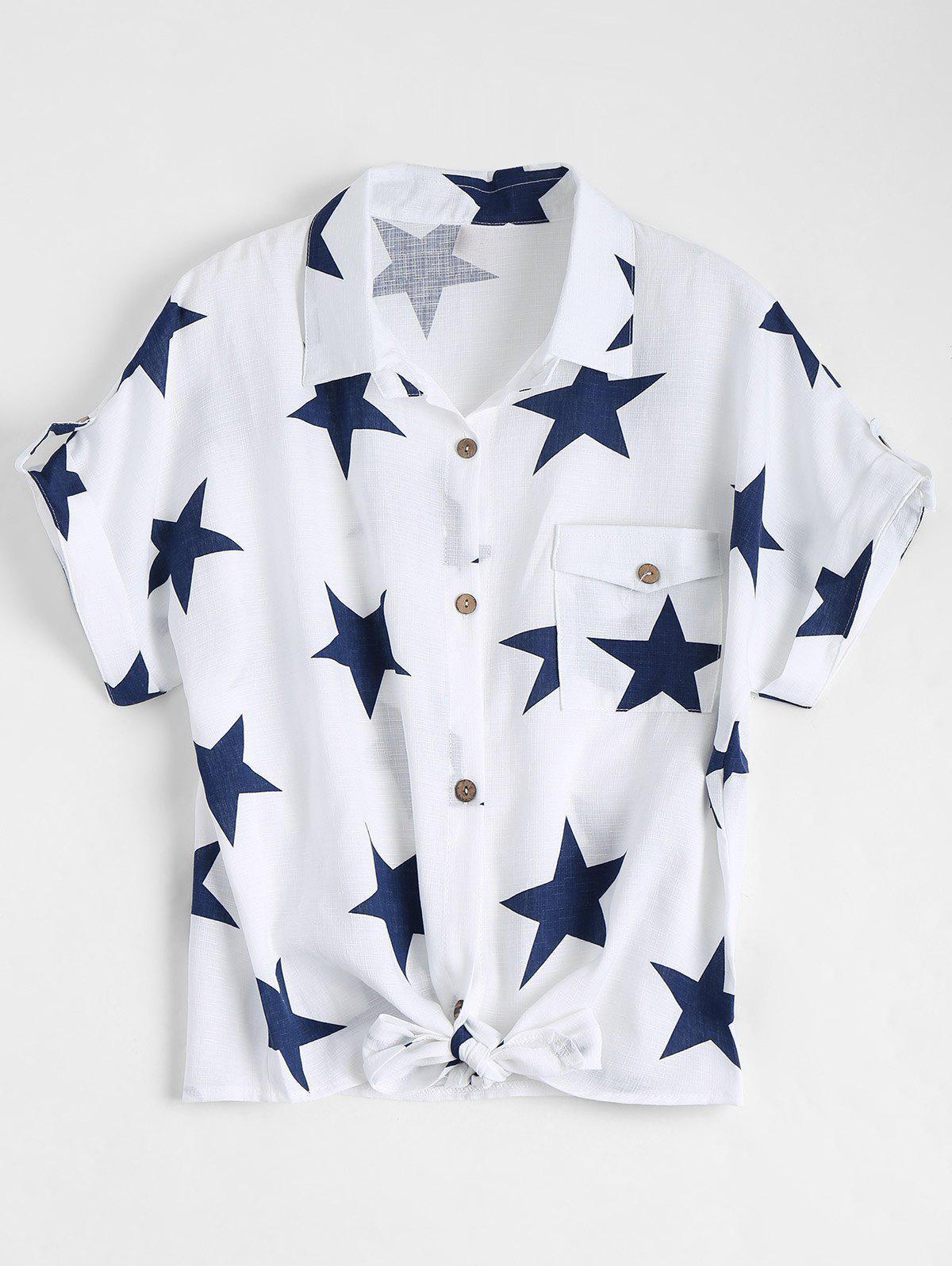 Cheap Pocket Star Print Front Tie Shirt