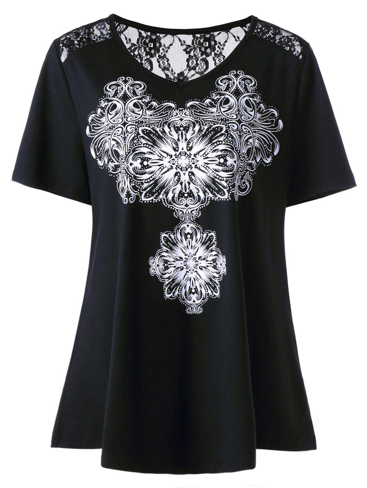 Lace Insert Jewelry Print Plus Size T-ShirtWOMEN<br><br>Size: 5XL; Color: BLACK; Material: Cotton Blends,Polyester,Spandex; Shirt Length: Regular; Sleeve Length: Short; Collar: Scoop Neck; Style: Casual; Season: Summer; Embellishment: Lace; Pattern Type: Print; Elasticity: Micro-elastic; Weight: 0.2500kg; Package Contents: 1 x T-Shirt;