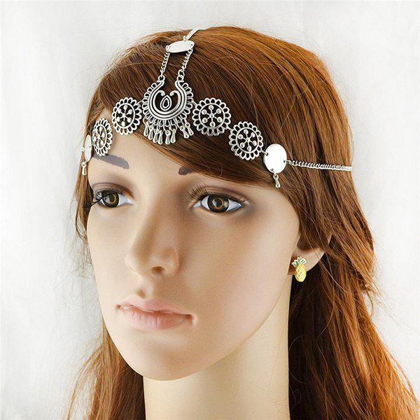 Alloy Floral Disc Gypsy Forehead ChainACCESSORIES<br><br>Color: SILVER; Group: Adult; Gender: For Women; Style: Vintage; Shape/Pattern: Floral; Weight: 0.0500kg; Package Contents: 1 x Forehead Chain;