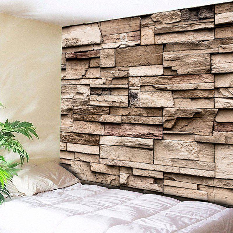 Brick Wall Hanging Printed Home Decorative TapestryHOME<br><br>Size: W59 INCH * L59 INCH; Color: YELLOW; Style: Fresh Style; Theme: Architecture; Material: Cotton,Polyester; Feature: Removable,Washable; Shape/Pattern: Print; Weight: 0.2000kg; Package Contents: 1 x Tapestry;