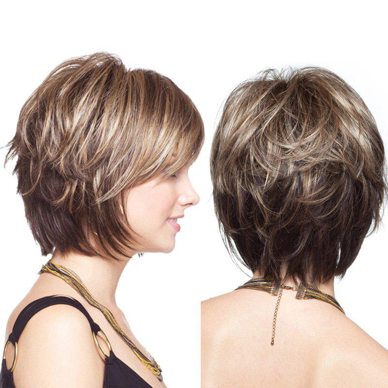 Short Shaggy Colormix Layered Straight Synthetic WigHAIR<br><br>Color: COLORMIX; Type: Full Wigs; Cap Construction: Capless; Style: Straight; Material: Synthetic Hair; Bang Type: Side; Length: Short; Length Size(CM): 36; Weight: 0.1850kg; Package Contents: 1 x Wig;