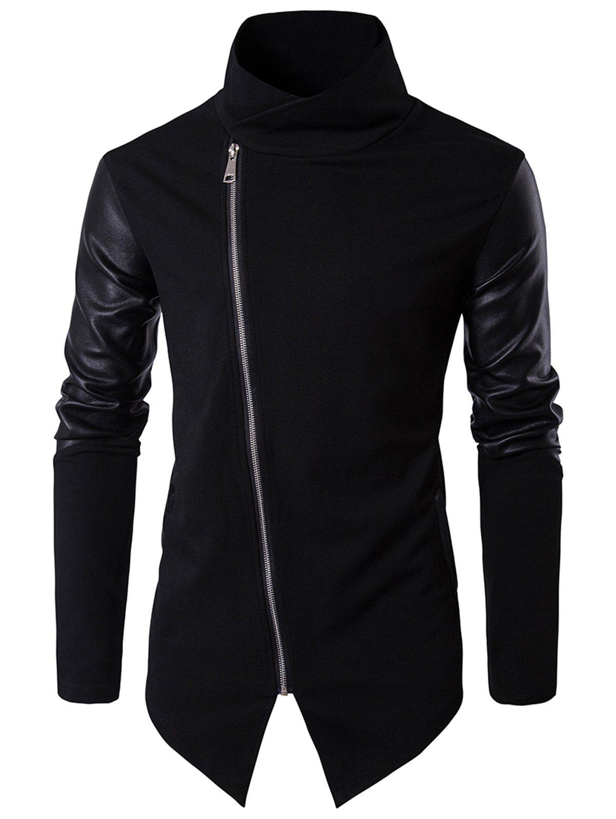 Faux Leather Panel Asymmetrical Zip Pullover TopMEN<br><br>Size: S; Color: BLACK; Material: Cotton,Faux Leather,Polyester; Shirt Length: Regular; Sleeve Length: Full; Style: Fashion; Weight: 0.6000kg; Package Contents: 1 x Sweatshirt;