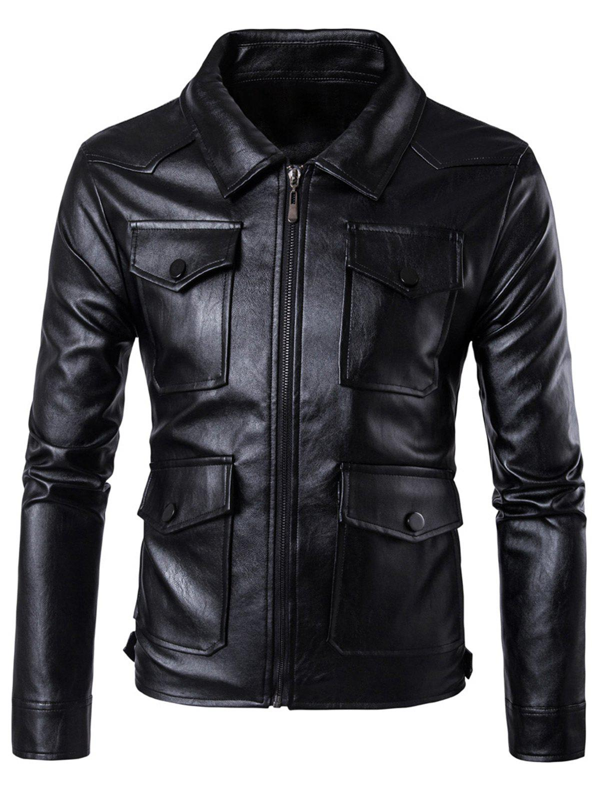 Chic Zip Up Flap Pockets Faux Leather Jacket