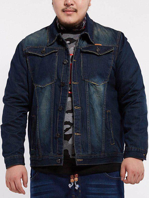 Front Pocket Design Plus Size Denim JacketMEN<br><br>Size: 6XL; Color: DENIM BLUE; Clothes Type: Jackets; Style: Casual; Material: Cotton,Polyester; Fabric Type: Denim; Collar: Turn-down Collar; Shirt Length: Regular; Sleeve Length: Long Sleeves; Season: Fall; Weight: 1.0200kg; Package Contents: 1 x Jacket;