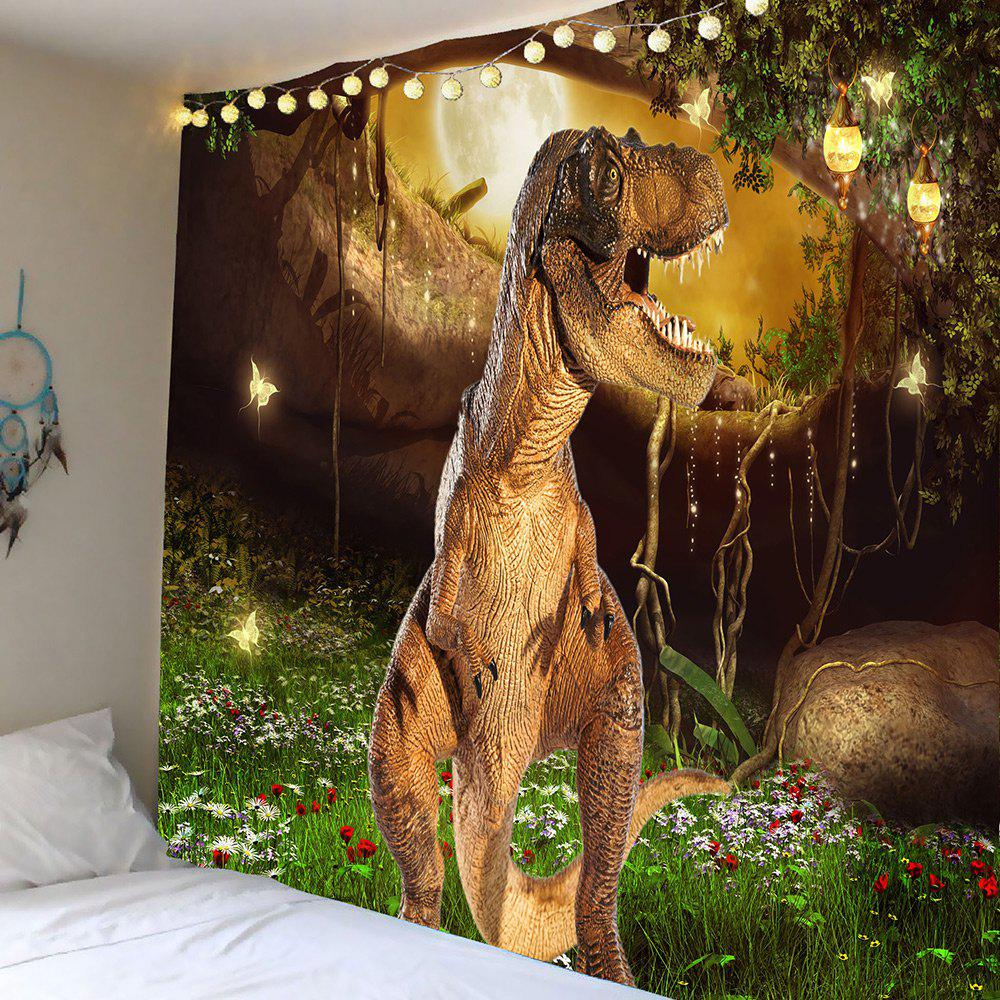 Dinosaur Garden Butterfly Wall Art TapestryHOME<br><br>Size: W79 INCH * L59 INCH; Color: COLORFUL; Style: Vintage; Theme: Animals; Material: Polyester; Feature: Removable,Washable; Shape/Pattern: Animal; Weight: 0.5000kg; Package Contents: 1 x Tapestry;