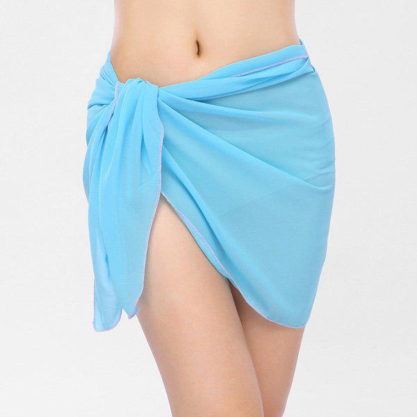 Beach Bikini Sarong Wrap Cover Up ScarfACCESSORIES<br><br>Color: AZURE; Scarf Type: Shawl/Wrap; Group: Adult; Gender: For Women; Style: Fashion; Material: Polyester; Season: Fall,Spring,Summer,Winter; Scarf Length: 140CM; Scarf Width (CM): 50CM; Weight: 0.0700kg; Package Contents: 1 x Sarong Scarf;