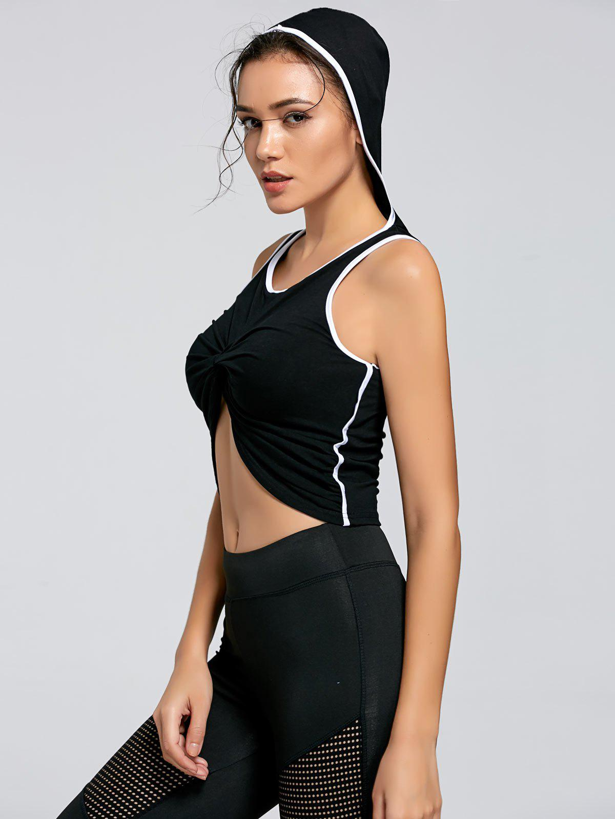 Best Active Contrast Front Knot Hooded Crop Top