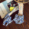 Bow Striped Mid Heel Slippers -