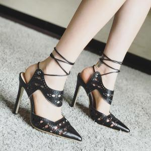 Hollow Out Tie Up Stiletto Heel Sandals