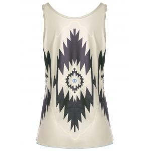 Casual Graphic Geometric Print Tank Top - KHAKI XL