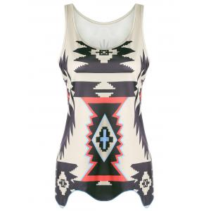 Casual Graphic Geometric Print Tank Top - Khaki - Xl