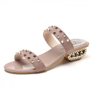 Suede Rivets Strange Style Slippers - PINK 39