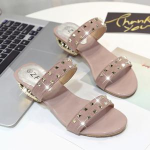 Suede Rivets Strange Style Slippers - PINK 40