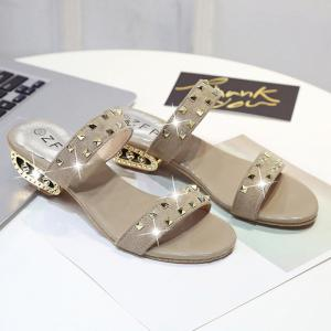 Suede Rivets Strange Style Slippers - APRICOT 40