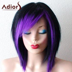 Short Side Bang Straight Bob Ombre Synthetic Wig - Black And Purple