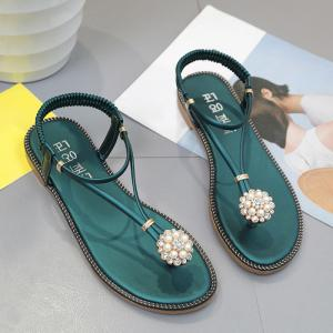 Faux Pearl Flat T-Strap Thong Sandals