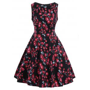 Belted Rose Print Vintage A Line Dress
