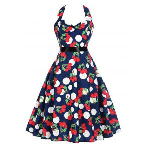 Vintage Cherry Print Halter Dress