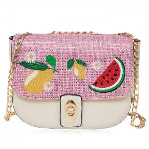 Chain Fruit Embroidered Crossbody Bag