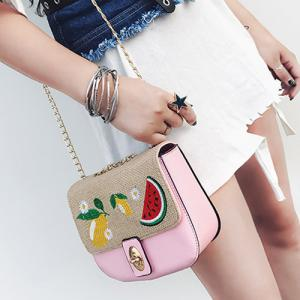 Chain Fruit Embroidered Crossbody Bag - PINK