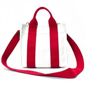Striped Canvas Tote Bag - Red - 38
