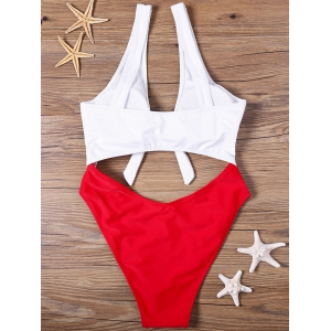 Cut Out One-piece Two Tone Swimwear - RED AND WHITE S