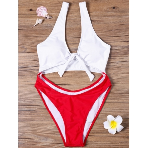 Cut Out One-piece Two Tone Swimwear