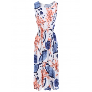 Floral Leaf Ink Print Sleeveless Midi Dress