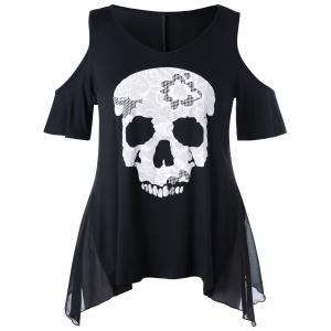 Skull Cold Shoulder Plus Size Top - Black - 2xl