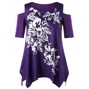 Plus Size Floral Cold Shoulder Top - Purple - 5xl