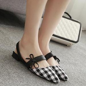 Bowknot Point Toe Plaid Flats - White - 40