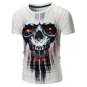 Short Sleeve 3D Skull Spider Print Tie Dye T-shirt - White - 2xl