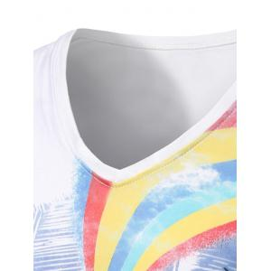Skull Hand Graphic Rainbow Print V Neck T-shirt - WHITE L