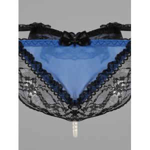Lace Faux Pearl Low Waist G-String -