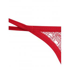 G-String brodé à double sangle - Rouge TAILLE MOYENNE