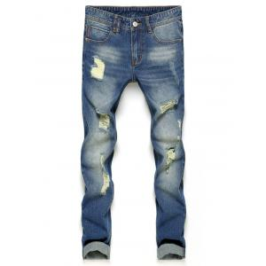Slim Fit Zipper Fly Ripped Nine Minutes of Jeans