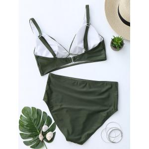 High Waist Low Cut Bikini Suit - BLACKISH GREEN L
