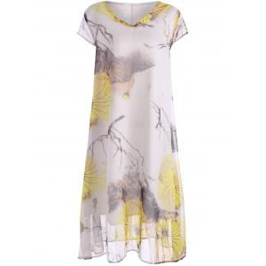 Plus Size V Neck Printed Midi Dress
